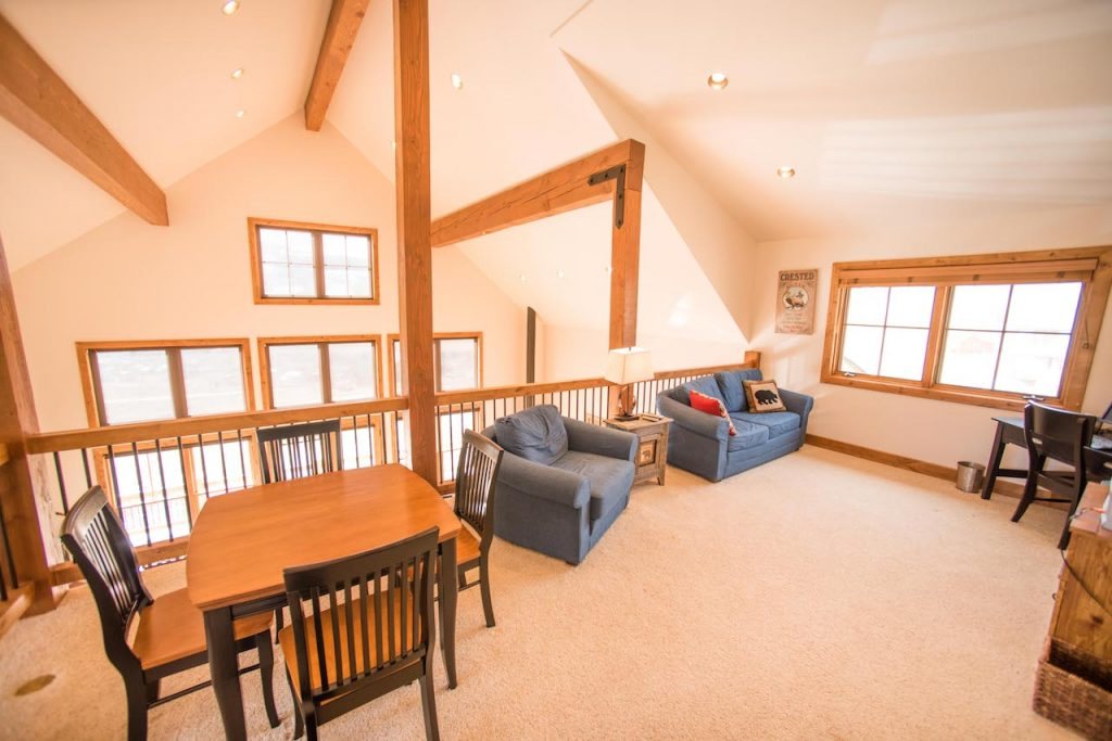 Crested Butte Vacation Rental Loft with 2 chairs and Table