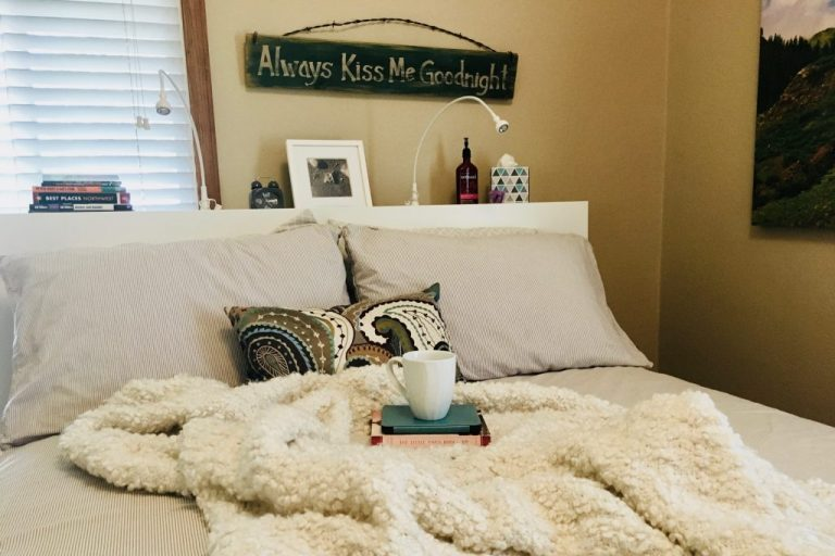 Fort Collins Vacation Rental Master bedroom with coffee cup