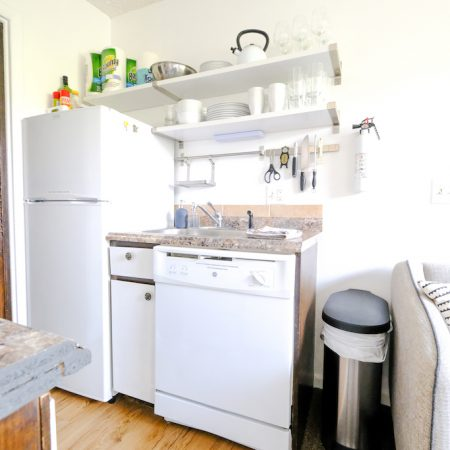 Quaint Winter Park Vacation Rental Refrigerator, Dishwasher, and Sink
